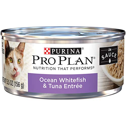 Purina Pro Plan Wet Cat Food, Ocean Whitefish & Tuna Entree in Sauce - (24) 5.5 oz. Cans