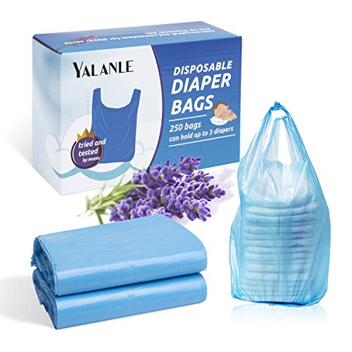 YALANLE Baby Disposable Diaper Bags – 100% Biodegradable Diaper Sacks with Lavender Scent & Added Baking Soda to Absorb Odors (Blue)