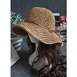 JDHABQ Sombrero para El Sol Sombrero De Sol para Mujer Simple para Mujer Bowknot Bast Sombrero De Paja Plegable Sombrero De Verano De ala Ancha Sombrero De Playa Sombrero De Mujer Mujer-Tiene Café L