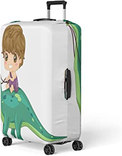 Luggage Cover Dinosaur of Little Caveman Riding Brontosaurus Clip Kid Travel Suitcase Cover Protector Baggage Case Fits 26-28 inches