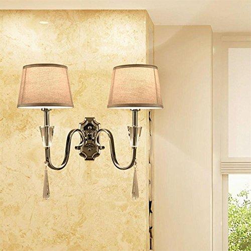 Atmko®Applique Murale Lampe murale moderne en tissu simple Toile en fer Art en cristal pour salle de séjour Chambre à coucher Cuisine murale murale murale, double headed