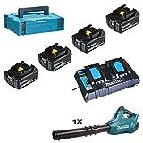 Makita 197626-8 Power Source Kit Li 18,0V 5Ah inkl. Doppelladegerät & 4 Akkus, blau, silber