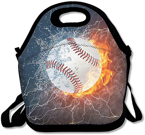 Neoprene Lunch Tote - Baseball Wallpaper Waterproof Reusable Lunch Bags For Men Women Adults Kids Toddler Nurses With Adjustable Shoulder Strap - Best Travel Bag
