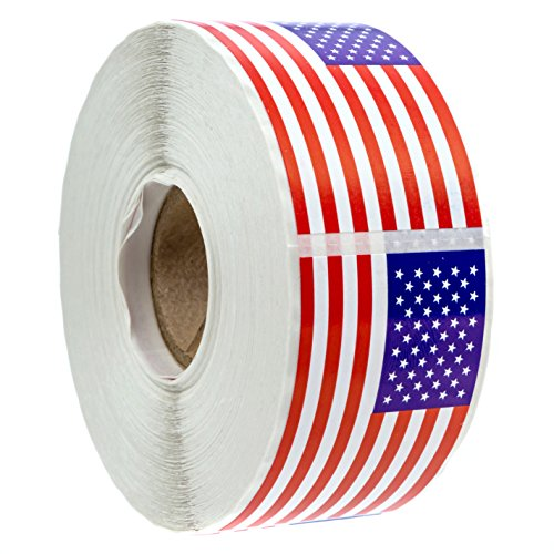 """500 American Flag Stickers (Perforated)/2.125"""" x 1.25"""" USA Patriotic Stickers"""