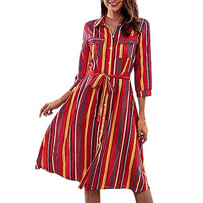 Muranba Womens Dresses Long Sleeve Striped Multicolor Loose Button Bohe Beach Dress with Belt