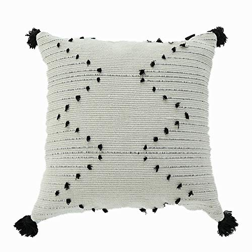 Decorative boho cotton cushion cover (18x18 inches / 45x45 cm) for sofa. Cream/natural & black. Geometric pattern with tassels, hand-embroidered accessory to complement your home. UK seller