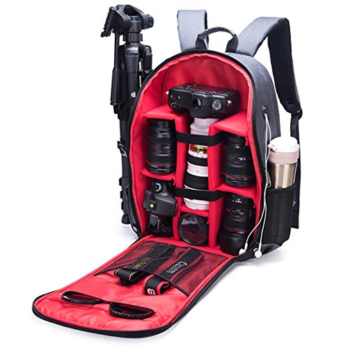 JCSW Camera Backpack, Professional Large Capacity Waterproof Photography Bag with Compartment Featuring Padded Custom Dividers for Canon, Nikon, Sony, Pentax, Black,M090jc (Color : Red)