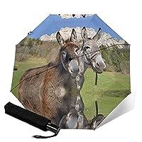 Funny Donkeys 自動折りたたみ傘 男性、女性、子供用の折りたたみ傘 大きい 軽量 太陽の傘 旅行傘 晴雨兼用傘 ?固?架 ワンタッチ 自動開閉 遮光遮熱 紫外線遮断 日焼け止め対策 耐風超撥水 超軽量 おしゃれ 男性、女性、子供が日よけと防雨で旅行するのに適しています。