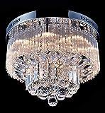 Saint Mossi Kristall Kronleuchter Modern Lüster Klarem Kristall Tröpfchen Deckenleuchte für Schlafzimmer Wohnzimmer Esszimmer, 9 X G9 Lampenfassung, Durchmesser 45cm X Höhe 30cm