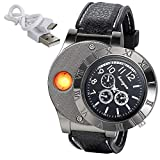 JewelryWe Mens Novelty Cigarette Lighter Watch USB Charging Windproof Quartz Wrist Watch, for Fathers Day