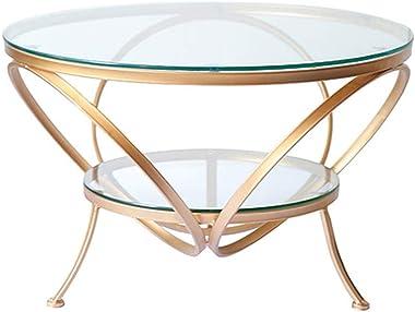 JHBW Table Basse Ronde, comptoir en Verre trempé Transparent, piètement en Fer forgé doré, Table Basse de Salon Minimaliste M