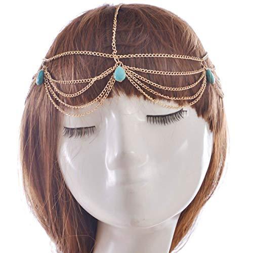 Stella opmerkelijke Egypte Cleopatra Griekse Godin Turkoois Kwastjes Haaraccessoires Haarband Hoofddeksels Boho Hoofd Ketting Sieraden A