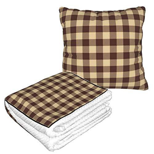 Kissen Decke Premium Samt Soft 2 in 1 Decke mit weicher Tasche Büffel Karo Karo Braun Kunst Kissenbezug für Zuhause Flugzeug Auto Reisen Filme