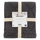 Organic Cotton Throw Blanket by Whisper Organics - G.O.T.S. Certified (50x60, Dark Grey)