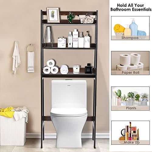 RELAXIXI Over The Toilet Storage, Bathroom Space Saver Rack, Multifunctional Toilet Rack, 3-Tier Shelf Organizer with Adjustable Bottom Bar (Walnut)
