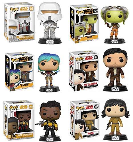 OPO 10 - Conjunto de 6 figuritas Pop Funko de Star Wars (Sabine Hera PoE Rose Lando Range)