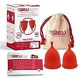 Copa Menstrual Sileu Cup Divine - Fácil de Extraer - Ayuda a prevenir infecciones urinarias y la cistitis - Alternativa ecológica y natural a tampones y compresas - Talla S + L, Rojo