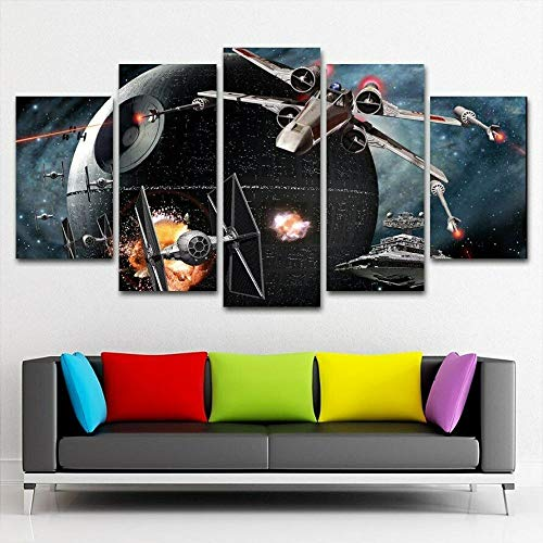 JJJKK Cuadros en Lienzo Decoracion de Pared 5 Piezas Modernos Mural,La Guerra de Las Galaxias Darth Vader Sith Stormtrooper Jedi,Fotos para Salon,Dormitorio,Baño,Comedor,con Marco