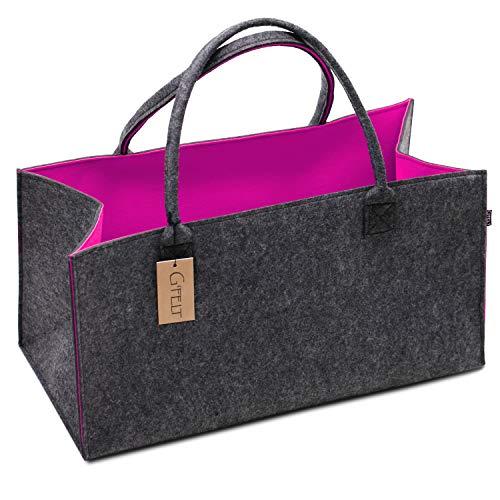 G'FELT Filztasche Premium – als hochwertige Einkaufstasche, schicke Freizeit-Tasche oder Badetasche, Zeitungskorb, Filzkorb, Einkaufskorb, stabile Kaminholztasche - zweifarbig grau und pink