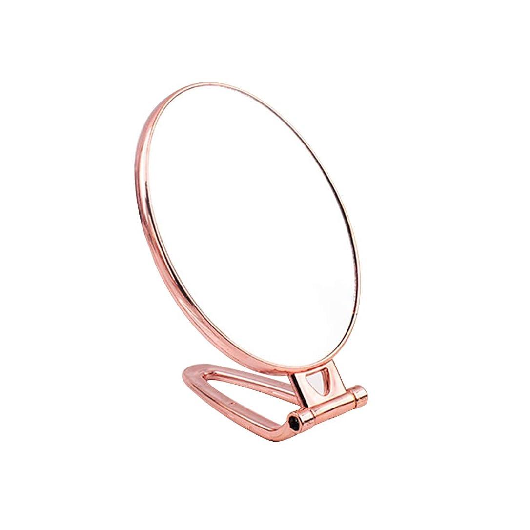 執着人生を作る好戦的なFrcolor 手鏡 折りたたみ式 化粧鏡 両面鏡 メイクミラー ハンド スタンドミラー(ゴールデン、オーバル)