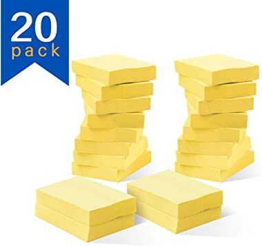 Yellow Sticky Notes, 20 Pad Sticky Note Post, 1.5X2 Inch,100 Sheet/Pad
