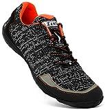AZANI Quantum Men's Black and Neon Orange Mesh Minimal Running Shoes-UK 9