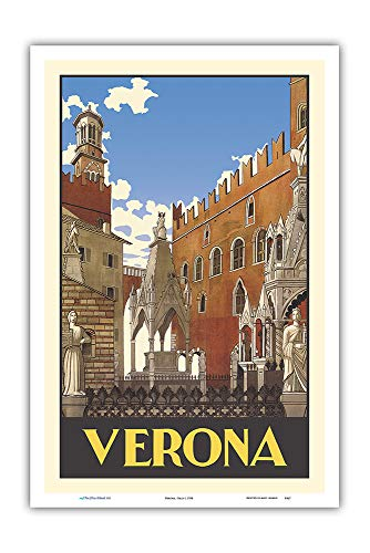 Verona, Italy - Piazza Delle Erbe Square - Vintage Travel Poster c.1938 - Master Art Print 12in x 18in