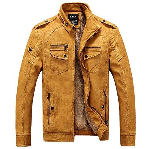 Herren Klassische Herbst Winter Warm Bomber Dicke Retro Vintage Gewaschen Leder Biker Motorrad Jacken Mäntel Lederjacke jacket (Gelb, DE 2XL(Tag 3XL))