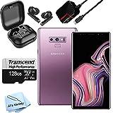 Samsung Galaxy Note 9 N960U 256GB (128GB Internal + 128 GB Transcend Micro SD Card) + Wireless Ear Pods - Accessory Bundle - Factory Unlocked - Purple (Renewed)