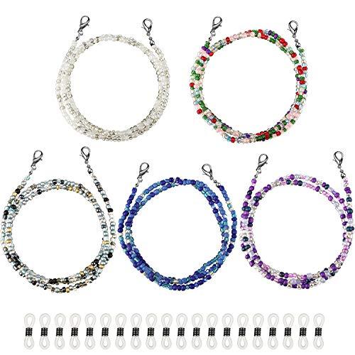 5 Stück Perlen Gesicht Bandana Lanyard Brillenkette Einfache Brillen Halterung mit 20 Stück Anti-Rutsch Gel Bequem Aufhängen um den Hals