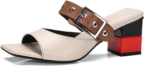 Pantoufles mot d'été femme usure extérieure épaisse avec des sandales à talons hauts et pantoufles , apricot , US6   EU36   UK4   CN36