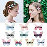 DEEKA 10 PCS Colorful Mesh Butterfly Hair Clips Realistic Fairy Handmade Glitter Barrette Set Hair Accessories for Women Girls Infants