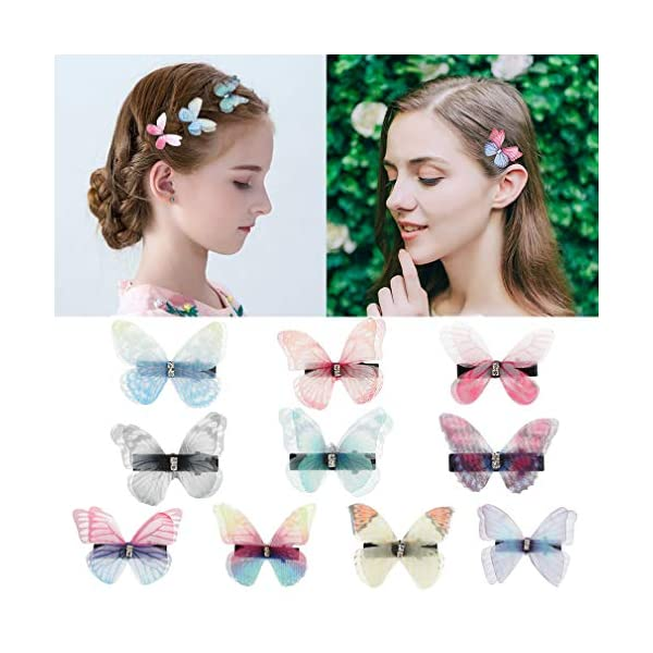 Beauty Shopping DEEKA 10 PCS Colorful Mesh Butterfly Hair Clips Realistic Fairy