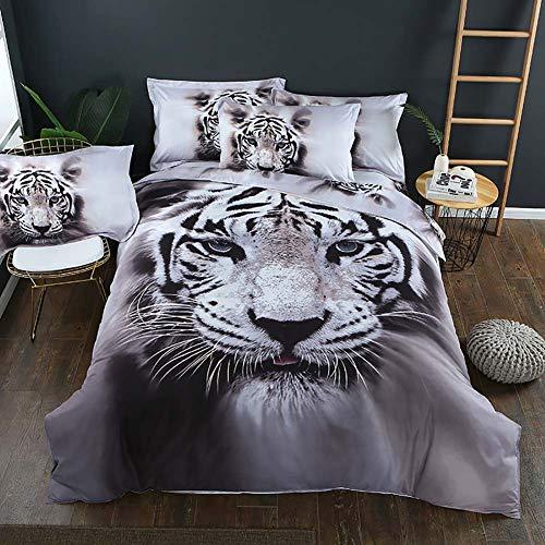 PANZET Bettwäsche, Bedrucktem Tierbettbezug 3D-Effekt Wolf Tiger Weiß Bettwäscheset Mit Kissenbezug Single King Size Double Bedding Set,Tiger,220x240cm