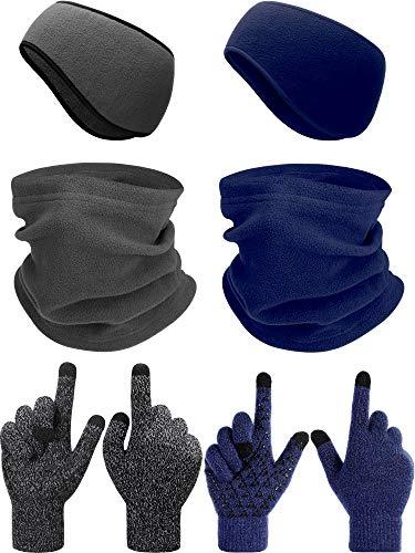 6 Pieces Ear Warmer Headband Warmer Face Mask Fleece Neck Gaiter Touch Screen Winter Knit Gloves for Men and Women (Gray and Navy Blue)