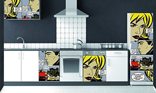 Plage 162252–Adesivo per cucine e Frigorifero Comic–Vinile 180x 0.1x 59,5cm, Multicolore