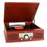 auna TT-92W - lettore giradischi, lettore LP, altoparlanti stereo incorporati, unità a cinghia, slot USB, formato MP3, slot SD, telecomando incluso, AUX IN, radio FM, marrone