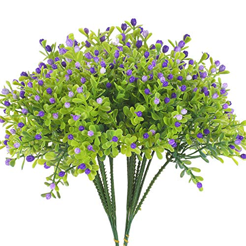 XHXSTORE Artificial Plastic Plants 0utdoor Silk Flowers Green Leaf Faux Flowers Wall Decor for Indoor Home Christmas Wedding Garden Fake Plastic Purple Flowers for Vase Office Table Grave 2Pcs