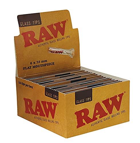 RAW Lot de 24 faux ongles en verre avec embout plat