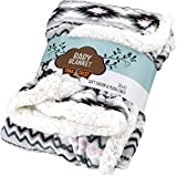 Ultra Soft Sherpa Fleece Cozy Plush Baby Blanket for Kids, Reversible with Aztec Prints, Washable, Wide Size, Baby Shower Present
