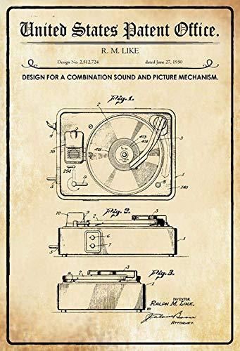 NWFS patent ontwerp voor een geluid & beeld mechanisme platenspeler metalen bord bord metalen plaat plaat metaal tin teken gewelfd gelakt 20 x 30 cm