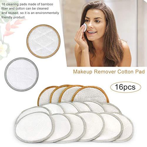 Tampon démaquillant réutilisable en coton, tampon en coton rond de 16 pièces, tampon en coton sans produits chimiques Tampon en coton démaquillant lavable pour les cosmétiques quotidiens de la peau
