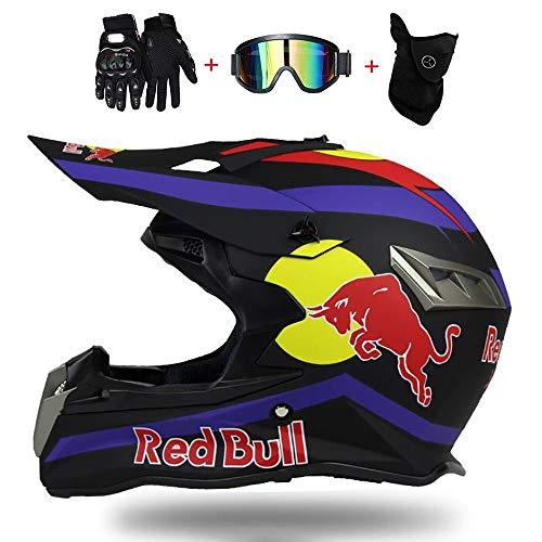 Fullface Helm,Motorradhelm Fahrradhelm ABS DOT ECE-Zertifizierung Mehrere EntlüFtungsöFfnungen Schnellverschluss Herausnehmbares Futter Schutzbrillenmaskenhandschuhe senden Red Bull (M=(57~58CM), A)