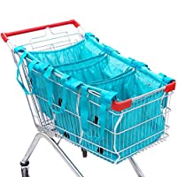 Handy Sandy 4 pc Reusable Grab Grocery Shopping Tote, Repeat Shopping Universal Cart Bags & Grocery Organizer (TEAL) [並行輸入品]