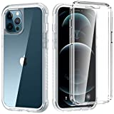 ZHK Compatible with iPhone 12 Clear Case with Built-in Screen Protector, iPhone 12 Pro Case, Shockproof Protection Full-Body Bumper Rugged Dual-Layer Case for iPhone 12/12 Pro(6.1-inch, 2020)