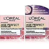 l'oréal paris age perfect golden age, routine viso per una pelle dal colorito naturale, include crema viso giorno + crema viso notte rimpolpanti, arricchite con peonia