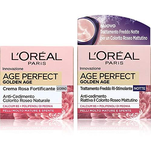 L Oréal Paris Age Perfect Golden Age, Routine Viso per una Pelle dal Colorito Naturale, include Crema Viso Giorno + Crema Viso Notte Rimpolpanti, Arricchite con Peonia