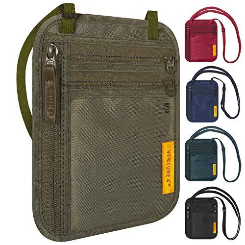 Slim Minimalist Design Travel Neck Wallet, RFID Blocking Passport Holder for Men & Women