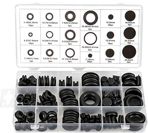 Litens h 125pcs Kit surtido de ojales de goma negra, conjunto surtido de anillos de junta de conductor eléctrico, anillo de ojal para proteger cables, enchufes y cables