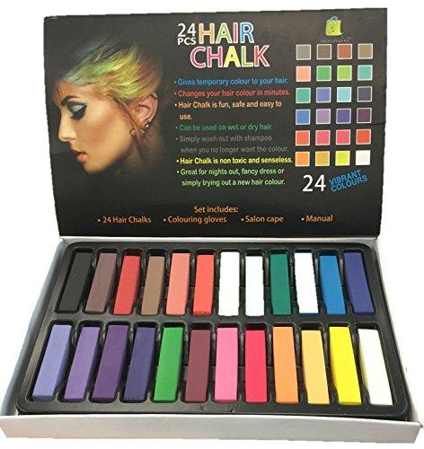 24 Stück Haarkreide Vibrant Colors Temporäre Haarfärbehandschuhe & Umhang inklusive